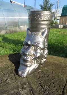 "Soviet metal pen holder ""Head of Devil"" . White pencil holder Devil. Vintage metal Mephistopheles. Iron casting. Metal figurine. USSR"