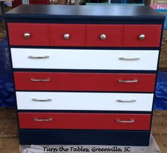 Fun Red, White and Blue dresser!  American Paint Company's Born on the 4th of July, Uncle Sam and Fireworks Red.