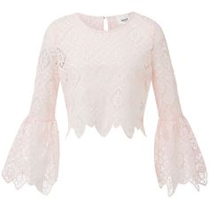 Lace Crop Bell Sleeve Top ($69) ❤ liked on Polyvore featuring tops, pink lace top, lace top, flared sleeve top, lace bell-sleeve tops and scoop neck top
