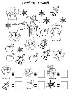 Pro Štípu Preschool Worksheets, Preschool Activities, 3d Christmas, Christmas Cards, I Spy Books, Kindergarten, Christmas Worksheets, Saint Nicolas, Math Groups