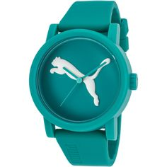Puma Women's Big Cat Teal Green Silicone And Dial (37 NZD) ❤ liked on Polyvore featuring jewelry, watches, green, leather-strap watches, silicon watches, crown jewelry, puma watches and cat jewelry