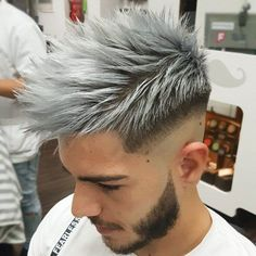 Mid Shaved Sides + Long Spikes + Grey Hair