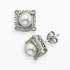 Simply Vera Vera Wang Sterling Silver Freshwater Cultured Pearl and Diamond Accent Frame Stud Earrings