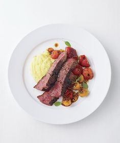 Steak With Roasted Peppers and Tomatoes Over Polenta from realsimple.com #myplate #protein