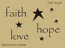 "Primitive Stencils for Free | Primitive STENCIL 1"" tall (faith hope love) Star Country Home Decor U ..."