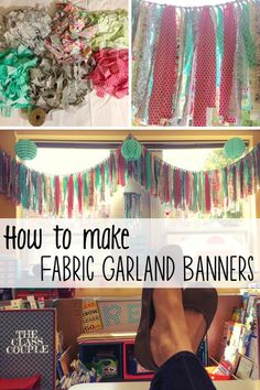 Learn how to make delightful fabric garland banners/curtains for your classroom, home, party, etc. This post provides step by step directions to help you make the perfect banner.