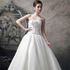 2014新款時尚公主韓版婚紗禮服 奢華鑲鑽抹胸齊地蕾絲婚紗秋冬季