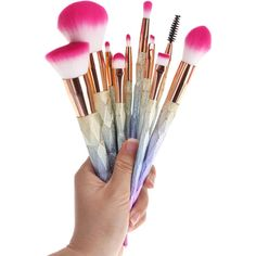 10 Pcs Glitter Rainbow Makeup Brushes Set ($12) ❤ liked on Polyvore featuring beauty products, makeup, makeup tools and makeup brushes