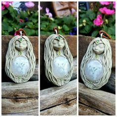 Solar quartz Oriana crystal clay goddess pendant handcrafted by Wakee's Wares on facebook ☺  ✌