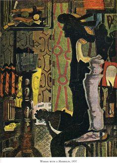 Expresionismo. Mujer con mandolina por Georges Braque Medio: óleo, lienzo