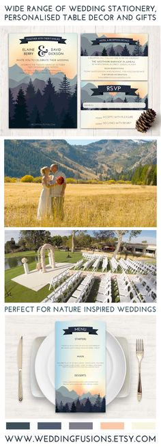 Mountain wedding invitations, for the nature outdoor wedding. Coordinated sets available for all your wedding stationery needs!