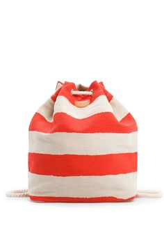 MANGO TOUCH - Canvas striped backpack