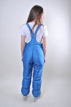 blue ski suit, vintage suspenders women snow suit, Size M - Daily Fashion Bib Snow Pants, Suspenders For Women, Womens Wetsuit, Vintage Ski, Cotton Suit, Snow Suit, Unique Outfits, Daily Fashion, Leotards