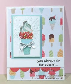 """The """"Cool Treats"""" suite lends itself perfectly for shaker cards with the Sprinkles embellishments and adorable framelits. Slider Cards, Scrapbook Cards, Scrapbooking, Get Well Cards, Card Tags, Paper Cards, Cupcakes, Kids Cards, Cute Cards"""