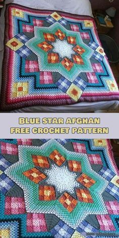 Crochet Afghan Patterns Have you ever seen a more beautiful afghan? I'm sure you have not. This pattern is one of the most used crochet patterns in the world and thousands have been made in various colors. Read more about Blue Star . Crochet Afghans, Motifs Afghans, Crochet Quilt Pattern, Afghan Crochet Patterns, Crochet Squares, Crochet Stitches, Knitting Patterns, Crochet Blankets, Free Knitting