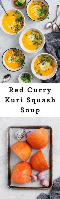 1 butternut squash 3 lbs|2 shallots, sliced|3 garlic cloves unpeeled|1 can coconut milk|1 tsp ginger|1 tbsp red curry paste|1 cup water|2 tbsp lime|Seed and cube squash. Microwave until soft. Preheat oven to 400°F. Place shallots/garlic on foiled baking sheet, w/ olive oil, salt/pepper. Wrap garlic in foil. Roast for 35 to 45 min. In blender, combine coconut milk, ginger, curry paste. When vegs are cool, add squash, garlic, and shallots to blender. Add water and lime to taste and…