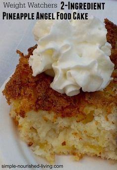 Low Calorie Weight Watchers Pineapple Angel Food Cake 2 ingredients easy low calorie cake 148 calories 4 Points Plus low calorie dessert recipe Low Calorie Cake, Low Calorie Desserts, Ww Desserts, No Calorie Foods, Low Calorie Recipes, Ww Recipes, Healthy Desserts, Delicious Desserts, Cake Recipes