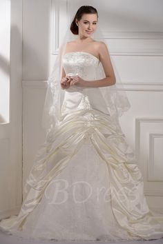 Tbdress.com offers high quality  A-Line/Princess Strapless Floor-length Chapel Plus Size Bridal Gowns Latest Wedding Dresses unit price of $ 159.99.