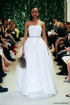 carolina herrrera bridal spring 2016 jaime strapless pretty ball gown wedding dress colored belt #weddingdress #wedding #weddingdresses