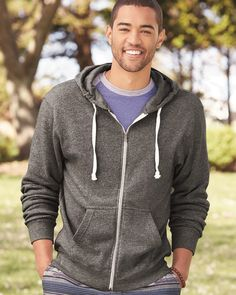 J. America 8872 - Triblend Hooded Full-Zip Sweatshirt  #jamerica #triblend #mensfashion