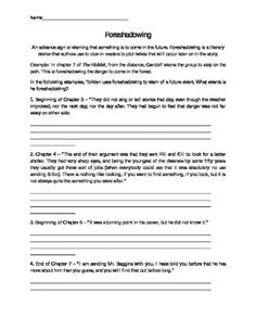 Foreshadowing Worksheets - Templates and Worksheets