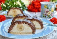 Rulada fara coacere cu  biscuiti, crema si banane Baked Potato, Oreo, Biscuit, Fondant, French Toast, Cheesecake, Pudding, Breakfast, Ethnic Recipes