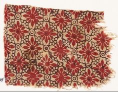 Textile fragment with rosettes, linked circles, and lobed leavesfront