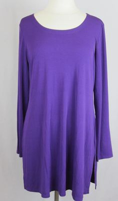 Eileen Fisher Women Purple 100% Silk Shirt Dress Above Knee W/Long Sleeve Size L