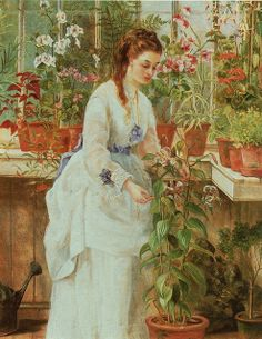"""""""A young lady in a conservatory"""", by Jane Maria Bowkett"""".  From the BBC book """"The victorian flower garden.  First published by BBC books, a division of BBC Enterprises Limited in 1991.  Copyright Jennifer Davies 1991."""