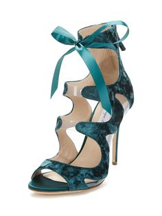 Velvet Lace Up Heel by Monique Lhuillier at Gilt. Obsessed!!
