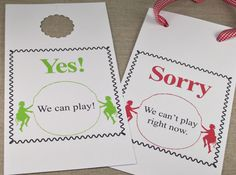 Kids Can Play Doorknob Hangers These printable signs are perfect for taking control of the ever-ringing doorbell. No more interrupted naps, dinner time or chores. This friendly little hanger lets the neighbor kids know without needing to knock. Doorknob Hangers, Door Hangers, Can Can T, T Play, Kids Wood, Hang Tags, Summer Fun, Summer Time, Wood Crafts