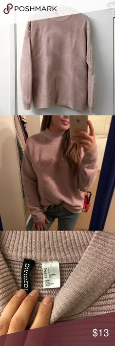 Mock neck glittery pink sweater H&M size small. Silver glitter details woven within sweater. Loose fit. In perfect condition Sweaters Cowl & Turtlenecks