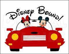 Disney Bound Car Vacation Digital Iron on transfer Image clip Decoupage, Disney Crafts, Disney Diy, Disney Stuff, Disney Magic, Disney Scrapbook, Scrapbook Layouts, Scrapbooking, Mickey Minnie Mouse