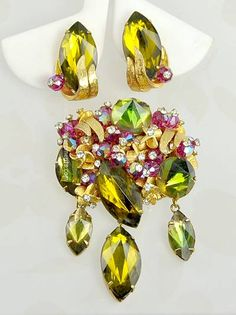 Opulent Vintage Signed ALICE CAVINESS Rhinestone Brooch and Earring Set at Amazing Adornments