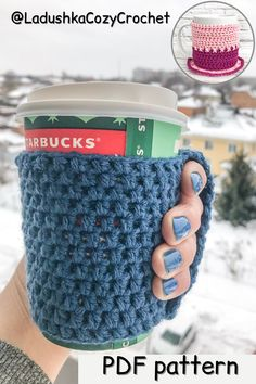 CROCHET PATTERN cup cozy fast easy for beginner cup sleeve mug warmer cup reusable coffee to go hot cup overcoat cup cloth wrist warmer PDF Crochet Coffee Cozy, Coffee Cup Cozy, Coffee To Go, Cup Sleeve, Coffee Sleeve, Wrist Warmers, Hand Warmers, Mug Rug Patterns, Crochet Patterns