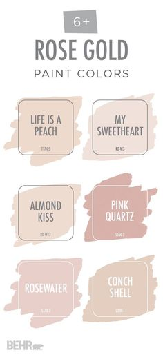 View your life through rose-colored glasses with this rose gold color palette from BEHR Paint. These light blush hues are a subtle, elegant way to bring some color into your home. Explore different color options like Life Is A Peach, Pink Quartz, and Conc Rose Gold Color Palette, Gold Paint Colors, Gold Color Palettes, Wall Colors, Pastel Colors, Gray Paint, Behr Paint Colors, Neutral Colors, Pink Palette