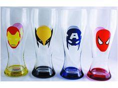 Marvel Heroes Masks 4-Piece Pilsner Glass Set - Marvel Comic Products Posters & Other