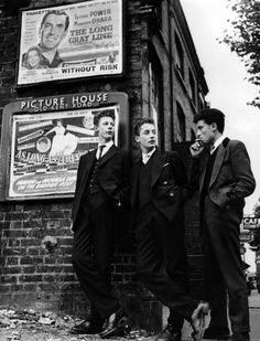 teddy boys: these guys were a british subculture that reinvented the look of the dandy from the edwardian period. Then this carried over to the US and was big with the rock and roll movement