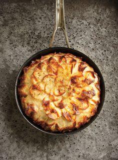 Galette de pommes de terre confites au céleri-rave 90 ml (6 c. à soupe) de beurre 6 grosses pommes de terre , pelées 1 céleri-rave moyen, pelé Sel et poivre  Couper tous les légumes à la mandoline, saler, poivrer, et alterner les couches dans un plat huilé. Enfourner 1 h à 200°