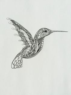 Zentangle Hummingbird,hummingbird art,original art,bird drawing,wall art, black and white drawing,pen and ink illustration,