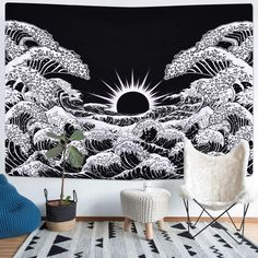 Aesthetic Wall Decor For College Bedroom,Dorm,Living Room,Department. Tapestry Nature, Tapestry Bedroom, Tapestry Wall Hanging, Bedroom Wall, Bedroom Decor, Colorful Tapestry, My New Room, My Room, Cool Tapestries