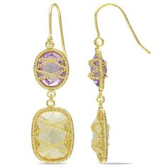 Sofia B Oval Citrine and Amethyst Drop Earrings in Sterling Silver with 14K Gold Plate
