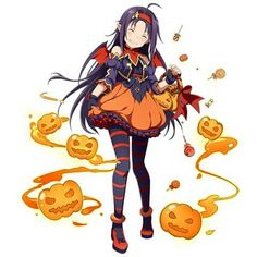 ahoge bat_wings blush bucket carrying closed_eyes grin hairband halloween_costume highres jack-o'-lantern long_hair official_art pointy_ears purple_hair skirt smile solo striped striped_legwear sword_art_online transparent_background wings yuuki_(sao) Kunst Online, Online Art, Sword Art Online Yuuki, Anime Halloween, Kirito, Cosplay, Manga Pictures, Anime Manga, Game Art