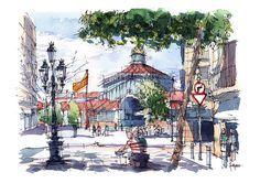168 отметок «Нравится», 1 комментариев — drawing Barcelona (@drawingbarcelona) в Instagram: «#borntosketch #elborn #bornccm #drawingbarcelona #danielpagans #urbansketchers» Sketches, Pen And Watercolor, Watercolor, Drawings, Marker Pen, Painting, Art, Draw