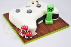 Xbox + Minecraft = cake exploding with awesome by Juniper Cakery
