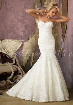 lace mermaid sweetheart sleeveless floor-length chapel train wedding dress - Bestdress2014.com