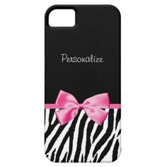 A trendy black and white zebra print pattern iPhone 5 Barely There case with a cute pink ribbon bow wrapped like a present. Personalize by adding your name. Perfect present for a teen girly girl!