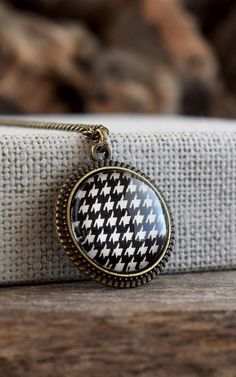 Houndstooth necklace, Houndstooth glass pendant, Black and white necklace, Geometric patterned necklace, Alabama houndstooth jewelry
