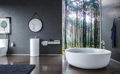 inspiration salle de bain zen avec baignoire ilot ronde et lavabo colonne