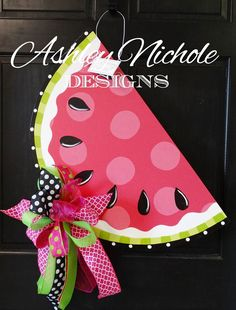 A little bit more whimsical design on our watermelon, this cute door hanger will be the perfect addition to your summer decor. All door hangers are hand painted in the USA! wide x tall Please use text box for customization Burlap Crafts, Wooden Crafts, Wooden Art, Diy Crafts, Painted Doors, Wooden Doors, Birthday Souvenir, Burlap Door Hangers, Spring Door
